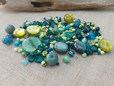 150 Assorted Green/Teal Beads, Acrylic, Shell, Glass/Lampwork,  4 - 30mm • 2.75£