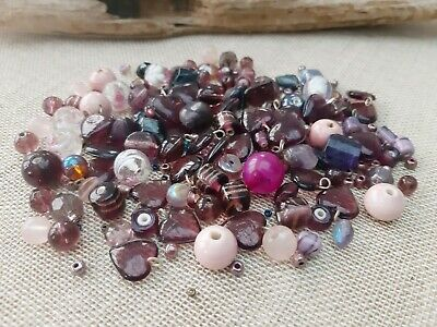 120+ Assorted Pink/Purple Beads, Glass/Lampwork, Porcelain, Acrylic, 4 - 14mm • 2.50£