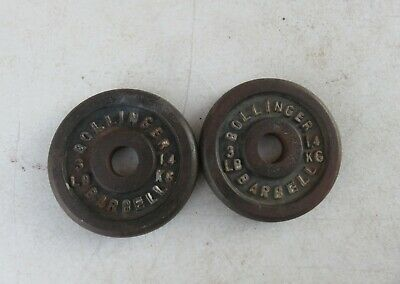 $ CDN18.91 • Buy VINTAGE 3 LB BOLLINGER Barbell Standard Size Weight Plates 1  Used 3lb Weights