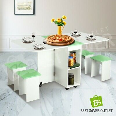 AU185.75 • Buy Dining Table Wooden Foldable Kitchen Living Room Furniture W/4 Chairs White&GN