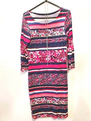 Women's Stretchy Midi Dress, Patterned Pencil Evening Dress Size 8 • 2.99£
