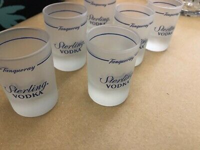 6 X Tanqueray Sterling Vodka Signature Frosted Shot Glasses • 5£