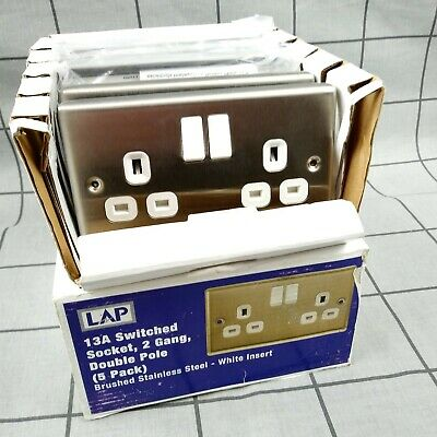 5 X LAP 13a 2 Gang DP Switched Plug Socket Brushed Stainless Steel 5 Pack • 21.95£