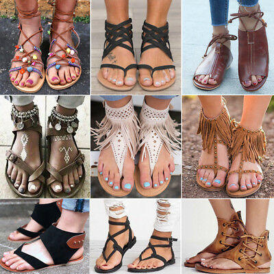 Boho Womens Flat Lace Up Leg Strappy Gladiator Summer Fashion Sandals Shoes Size • 15.69£