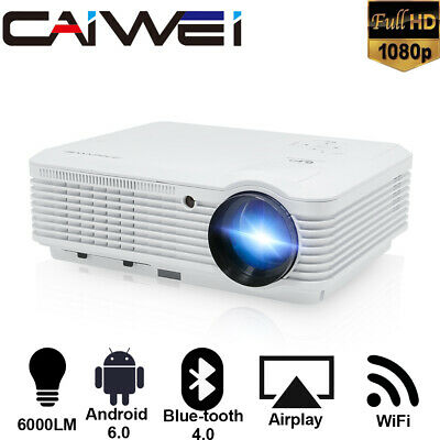 6000lumen BT WiFI HD Projector Miracast Airpplay For IPhone Zoom Apps Netflix UK • 359.99£