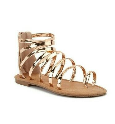 Gladiator Sandals Rose Gold Ladies Flat Zip Shoes Metallic Strappy Size 7.5 NEW • 14.95£