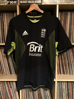 Adidas England Cricket Shirt S M Good Condition Navy Blue Neon Green Barmy Army • 12.99£
