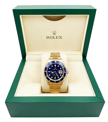 $ CDN32813.48 • Buy Rolex Submariner 16618 Blue Dial 18K Yellow Gold Mint Condition With Box 2002