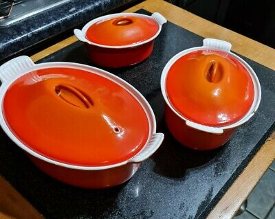 Set Of 3 Le Creuset Cast Iron Casserole Dishes/pots Size 18cm,22cm & 26cm Orange • 124.99£
