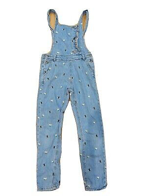 M&S Embroidered New And Daisy Denim Dungarees Age 9-10 • 2£