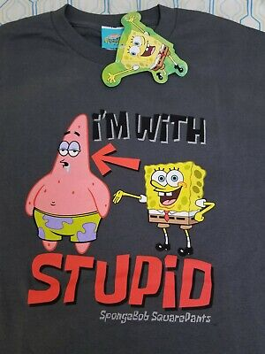 NEW VTG 2002 Nickelodeon Spongebob Squarepants I'm With Stupid T Shirt Large • 42.56£