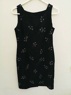 JONES NEW YORK Women's Black Floral Sleeveless Dress - Small 6P • 4.99£