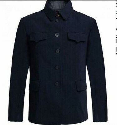 $55.82 • Buy Mens Turn Down Collar Tunic Jacket Wool Suit Single Breasted Mao Chinese Blazer
