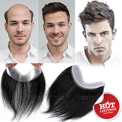 £39.99 • Buy Clip In Mens Toupee Human Hair Forehead Hairline Topper Hairpiece Wig LACE PU UK