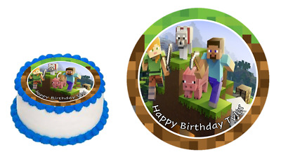 AU13.99 • Buy Minecraft Edible Image Cake Topper 7 Inch Personalised Pre-cut Icing Sheet