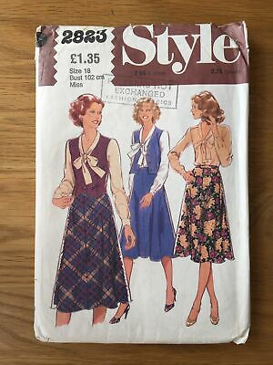 1970s Vintage Sewing Pattern Style 2823 Ladies Blouse Waistcoat & Skirt Size 18 • 4£