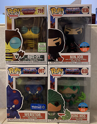 $42 • Buy Funko Pop Masters Of The Universe Lot MOTU-Webstor, King Hiss, Buzz-Off, Ninjor