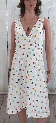 Garnet Hill Confetti Polka Dot Empire Waist Retro Pinup Dress Women's 10 • 12.88£