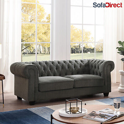 Chesterfield Fabric Sofa 3+2+1 Grey Natural Cream Sofa Sets 3 Piece Suites • 399.99£