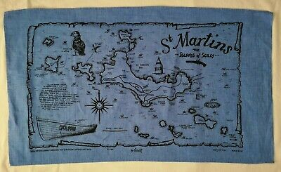 Vintage St Martins Isles Of Scilly Blue Tea Towel 100% Cotton • 9.50£