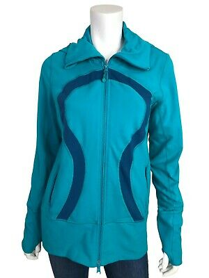 $ CDN59.57 • Buy Lululemon 10 Jacket Stride Teal Two Tone Zip Up Collar Hooded Thumbholes Knit