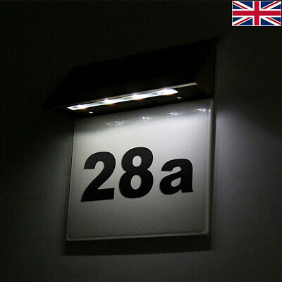 £8.98 • Buy 4LED Solar Powered Led Illuminated House Door Number Lights Wall Plaque Modern