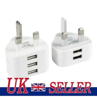 £4.07 • Buy 2/3 Port USB Charger 2A UK Plug Mains Wall Charger Dual 3-Port Travel Adapter UK