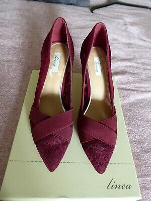 Linea Ladies Beautiful Burgundy Fabric Cross Over Lace Court Shoes Size 6 + Bag • 25£