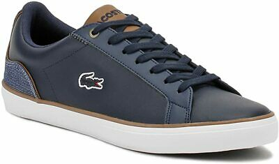 Lacoste Lerond Mens Gents 317 Stylish Casual Navy Leather Denim Lace Up Shoes 11 • 59.99£