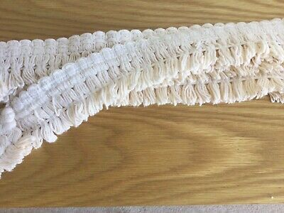 Vintage Cotton Natural Cream Coloured Tassel Trim 6m - Lampshades/Upholstery • 1£