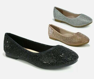 £9.99 • Buy Girls Flat Dolly Party Shoes Wedding Occasions Pumps Glitter Sparkly