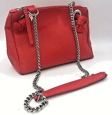 £16.99 • Buy ✅M&S Autograph Luxurious Red Leather ✅Chain Handle Shoulder Bag✅