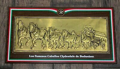 $ CDN106.10 • Buy 1970s CABALLOS CLYDESDALE De BUDWEISER 22  SIGN IN SPANISH, WOOD & COPPER, VG