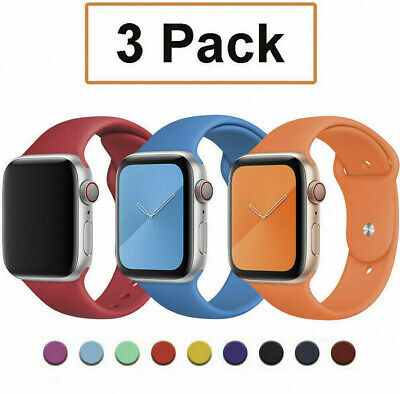 AU12.99 • Buy Fits Apple Watch 6 5 4 3 2 1 IWatch SE 40 44mm 3 Pack Silicone Sport Band Strap