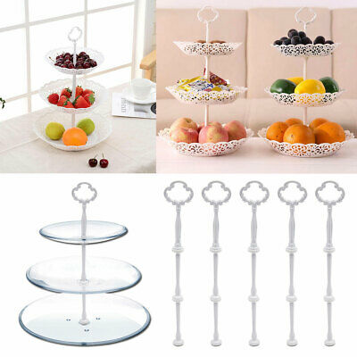 £7.49 • Buy 5 Set 3 Tier Floral Cake Plates Stand Rod Holding Guest Serving Table Decortion