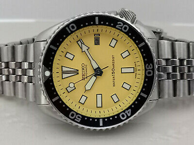 AU0.01 • Buy Yellow Face Modded Seiko Diver 7002-7000 Automatic Men's Watch 542633
