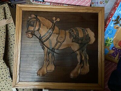 Rare Antique Shire Horse Picture Made From Leather On Solid Wood 70cm X 65cm • 90£