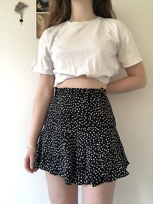 ZARA L Black White Polka Dot Short Skort Mini Skirt • 2.20£