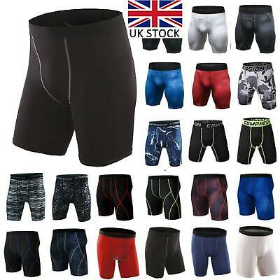Men Compression Boxer Shorts Base Layers Briefs Sports Skin Fit Gym Under Pants • 10.49£