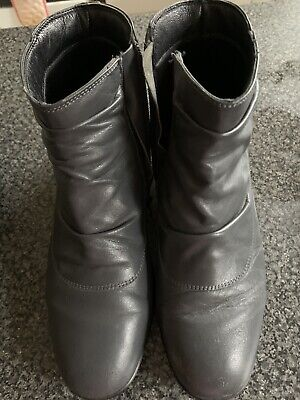PAVERS Ladies Womens Boots Size UK 7 Eu 40 Grey Leather Ankle Wide Fit • 6.99£