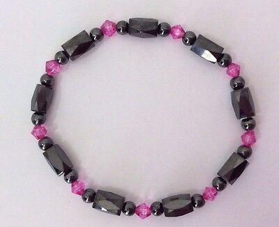 Ladies Hematite High Power Magnetic Stretch Bracelet Pink Black Beads Rheumatism • 2.99£