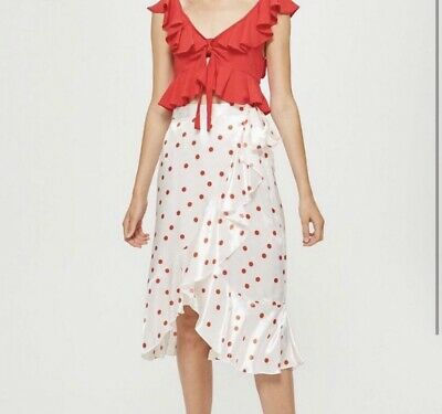 Topshop Silky Red And White Polka Dot Wrap Midi Skirt Size 8 • 4£