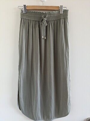 AU10 • Buy Forever New, Green, Midi Skirt, Size 8, Excellent Condition, Drawstring Waist