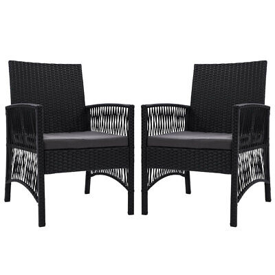 AU207.95 • Buy New Outdoor Furniture Set Of 2 Dining Chairs Wicker Garden Patio Cushion Black G