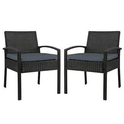 AU176.95 • Buy New Set Of 2 Outdoor Dining Chairs Wicker Chair Patio Garden Furniture Lounge Se
