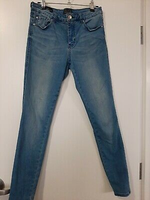 AU35 • Buy Forever New Skinny European Fabric Blue Jeans Size 10 As New Stretch Comfort