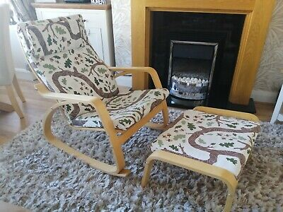 Ikea Poang Rocking Chair Complete With Foot Stool  • 30£