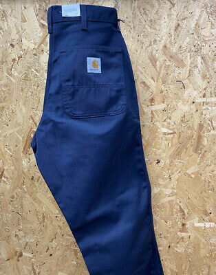 £72.99 • Buy Carhartt Wip Simple Pant Relaxed Straight Fit Navy Blue 8.8oz Twill  Ship World