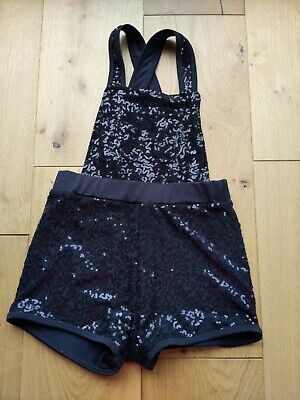 Black Sequined Dungaree Shorts Age 6/7 • 1.50£