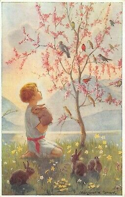 Morning Carol Fantasy Signed Card Margaret W. Tarrant Boy Birds Rabbits Postcard • 7£